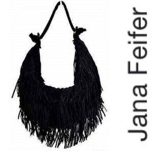 Jana Feifer Black Suede Leather Fringe Hobo Bag